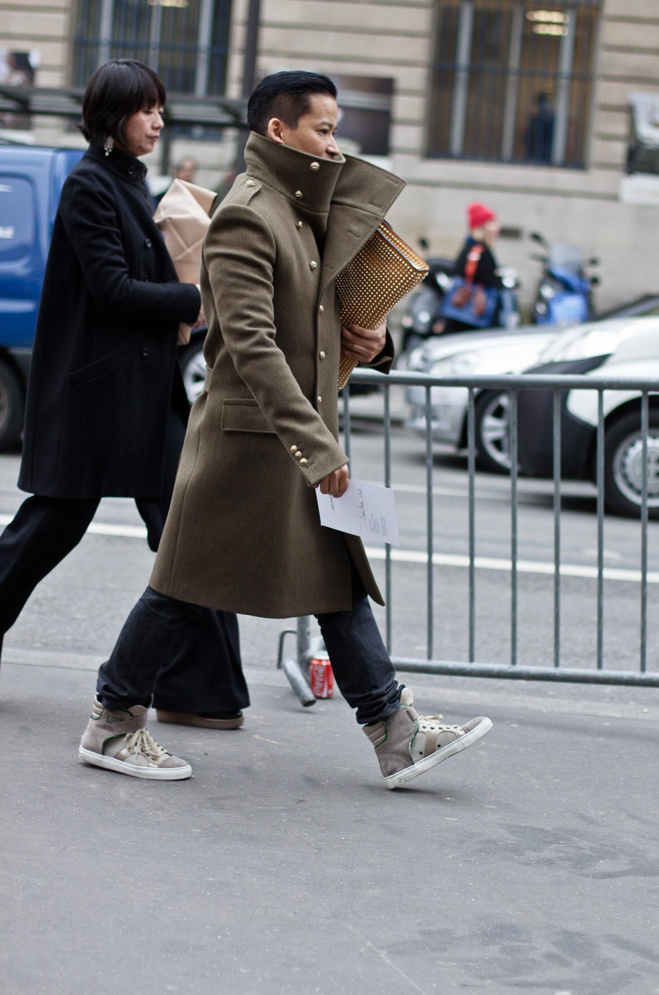 Grey Overcoat Brown Shoes